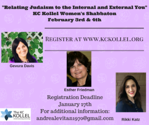 -Relating Judaism to the Internal and External You-KC Kollel Women's ShabbatonFebruary 3rd & 4th (1)